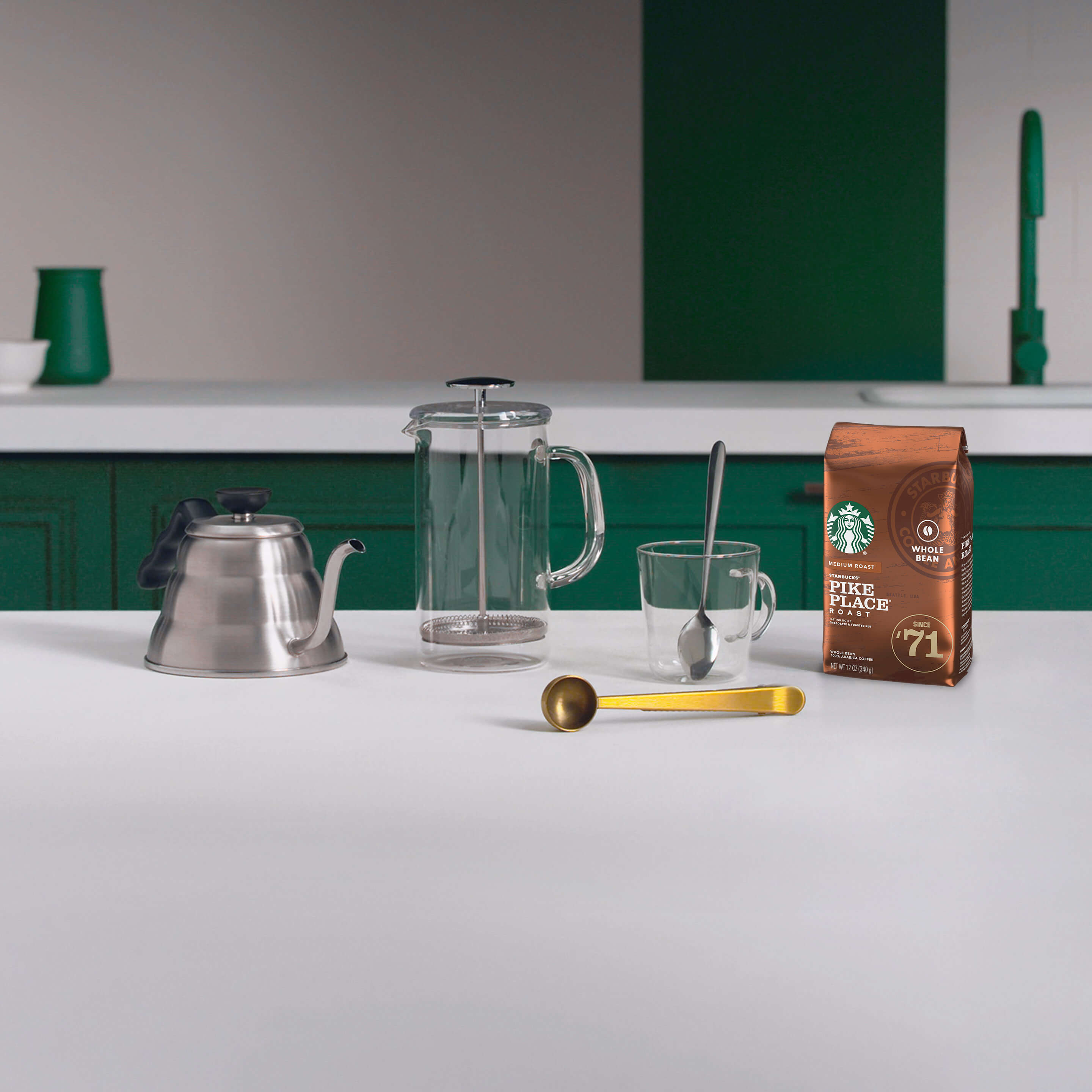 Coffee press brewing guide equipment