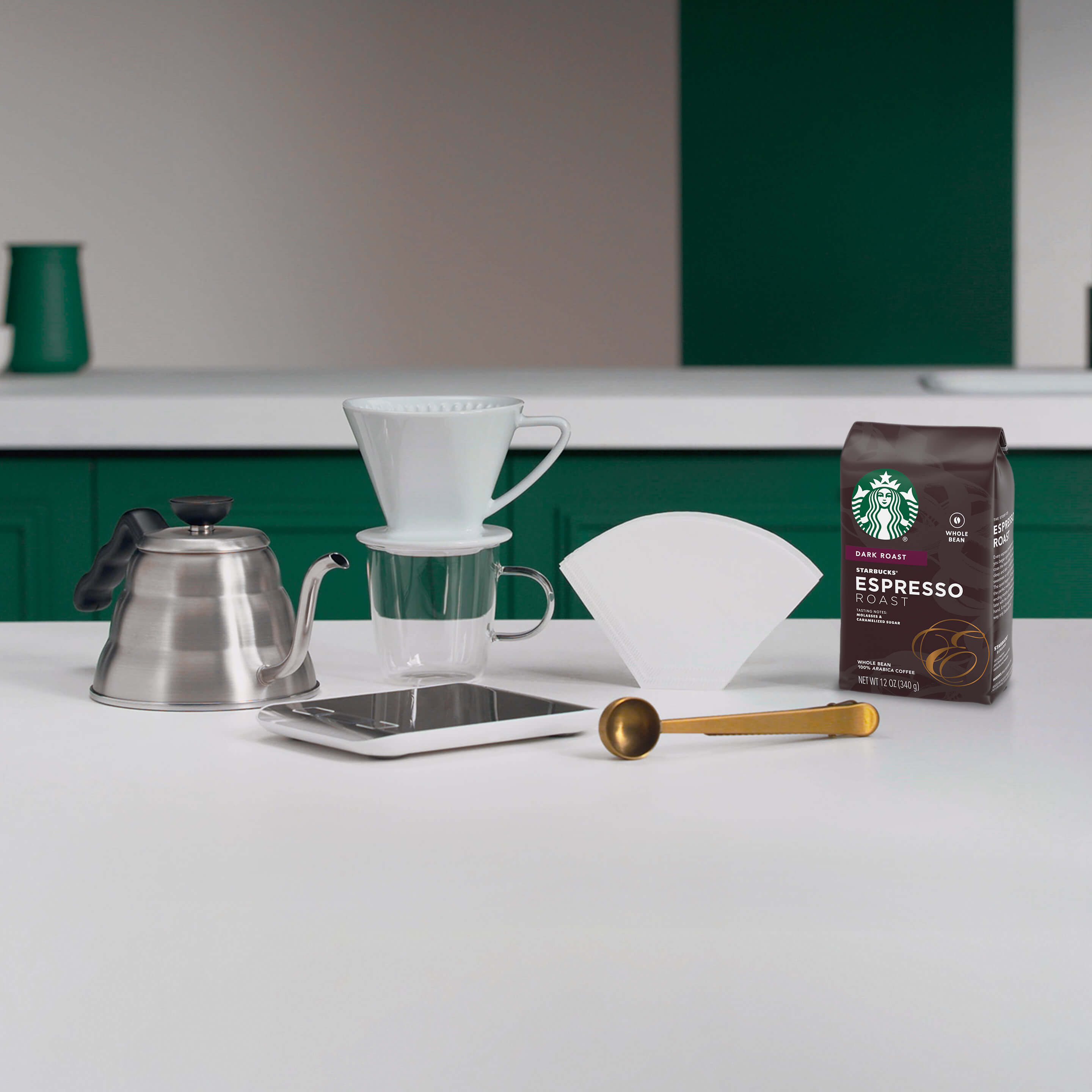 Pour over brewing guide equipment