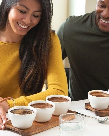 Coffee tasting set up